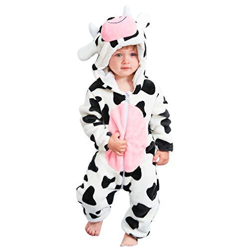 (MICHLEY Baby Spielanzug Schlafanzug Flanell Frühling Strampler Pyjama kostüm Bekleidung Karikatur Tier Jumpsuit für mädchen und Junge(Weiß 90))
