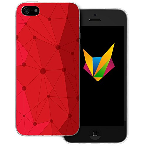 Mobilefox Grafik transparente Silikon TPU Schutzhülle 0,7mm dünne Handy Soft Case für Apple iPhone 5/5S/SE Grafik Atomium Rot