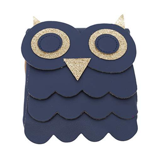 LWANFEI Messenger Bag Cute Owl Schultertasche Handtasche Casual Bag Fashion Mini Bag Postman Paket für Kinder, PU-Leder, dunkelblau, Reference Description (Owl Bags Messenger)