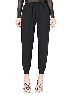 Mujer Suelto Color Sólido Pantalones Cintura Alta Casual Harem Pantalones