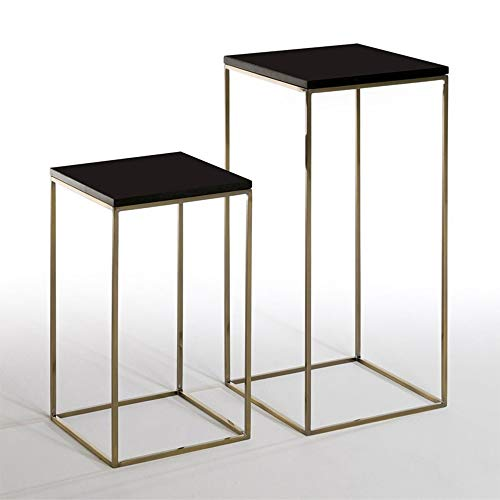 DEO Étagères en métal de table Table basse carrée d'extrémité de table de nuit de table de bout carrée 2PCS (Couleur : NOIR)