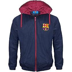FC Barcelona - Chaqueta cortavientos oficial - Para niño - Impermeable - Estilo retro - 8-9 años