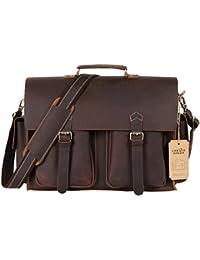 Lifewit Leder Aktentasche 15,6 Zoll Messenger Bag Laptoptasche Notebooktasche Umhängetasche aus Echtem Büffelleder Handgemacht Tasche für Business