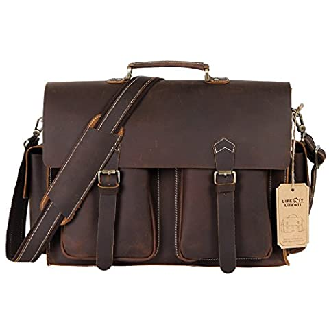 Lifewit Leder Aktentasche 15,6 Zoll Messenger Bag Laptoptasche Notebooktasche Umhängetasche aus Echtem Büffelleder Handgemacht Tasche für