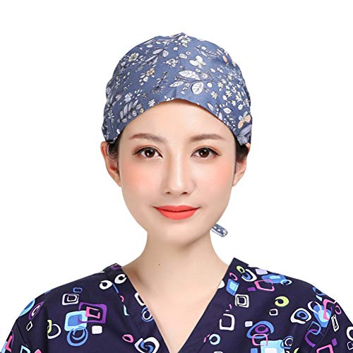Fenical Scrub Cap Verstellbare Chirurgische Kappe mit Baumwolldruck Runde Krankenschwesterhaube aus Baumwolle mit Chirurgie-Hut