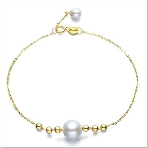 Bracelet de perles naturelles, perles d'eau douce (rond 6,5–7mm), chaîne de queue (4,5–5mm) Or 18K Bracelet 43,2cm