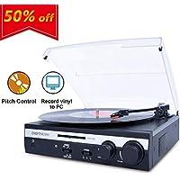 DIGITNOW! Plattenspieler Eingebauten Stereo-Lautsprecher Schallplattenspieler Unterstützt Vinyl-To-MP3, Pitch Control, Vinyl Wiedergabefunktion (33/45 / 78 U/min), Schwarz