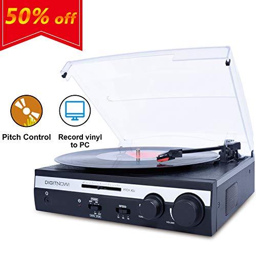 DIGITNOW!Tocadiscos Estéreo Retro,Plato giradiscos Vinilo 3 Velocidades 33/45/78 RPM con Altavoces Incorporados Salida USB PC Digitalizador Vinilos, Codificador a MP3, Entrada Linea AUX