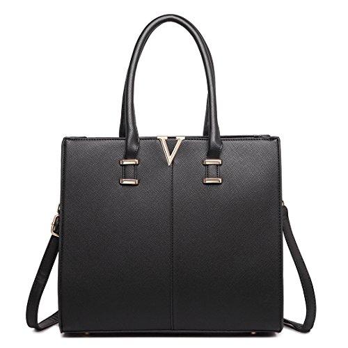 Miss Lulu Damen Schultertasche M Kleine Ledertasche Shopper Handtasche Faux Leder