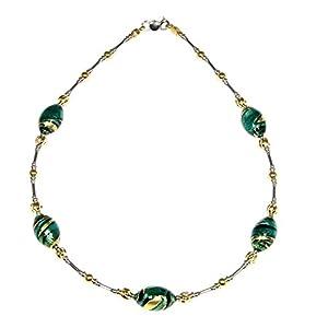 Collana donna girocollo in argento 925 rodiato e placcato oro 24 Kt e vetro di Murano impreziosito con la foglia d'oro prodotta a Firenze