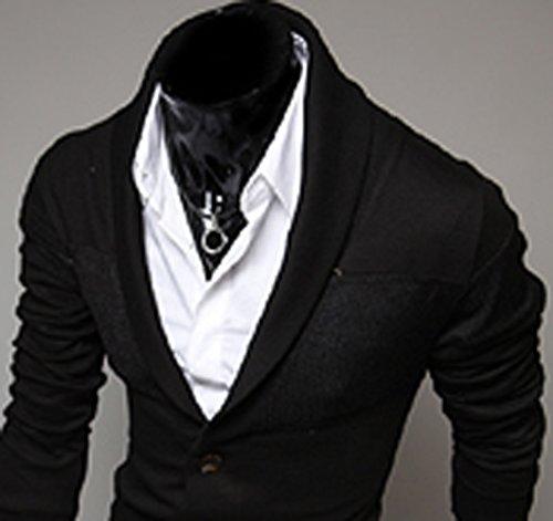 Keral Hommes Sweater Mince Pas V Con Couleurs Pures Coton Mélangé Tricoter Cardigan Noir