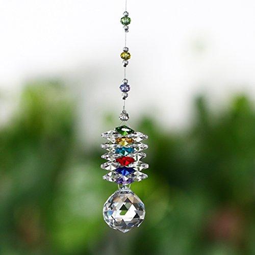 H & D zum Aufhängen Chakra Sonnenfänger Kronleuchter Kristalle Ball Fengshui Prismen Rainbow Anhänger Maker Auto Charme - Kronleuchter Charme