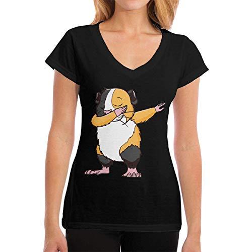ee7f6cc7b Kalinanai Magliette Dabbing Guinea Pig Women's Casual T-Shirt con Scollo a  V Manica cortas