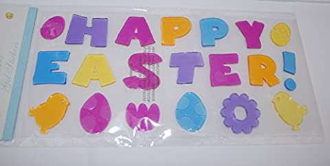 Happy Easter Window Gel Decoration with Easter Chick and Easter Eggs