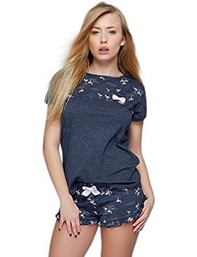 Sensis Pigiama/abbigliamento da casa trendy in cotone composto da maglietta e pantaloncini, made in EU