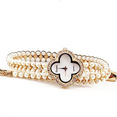 Schöne Perle Kette/ Lady Perlen Armbanduhr