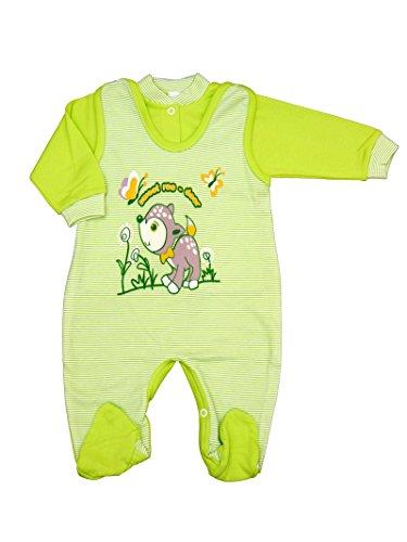 2-tlg. Baby Set Strampler mit Langarmshirt Erstausstattung Unisex Größe 50-86 (56, Bambi-grün)