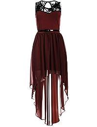 Oops Outlet Women's Asymmetric Dip Hem Lace Chiffon Belted Midi Dress Plus Size US 14 Wine