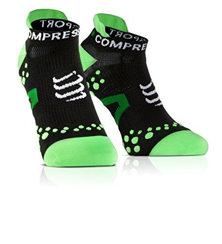 Compressport Run Lo - Calcetines de running unisex, color negro / verd