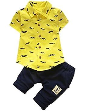 ❤️Ropa para niños bebés Conjunto, Tefamore Conjunto de ropa de barba Tops + Shorts Pants Outfit , 3-24M (Amarillo...