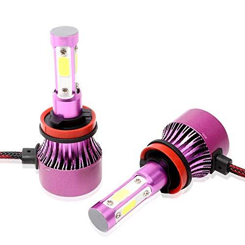 ACCDUER H11 LED Ampoules de Phare, 36W 6500K 8000Lumens Super Lumineux Voiture Blanche Phare, COB Chip Haut Bas Auto Voiture de Conversion LED Kit (Pack de 2),Purple