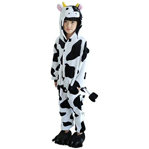 Cool&D Kinder Schlafanzug Onesie Jumpsuits Tier Pyjama Hausanzug Flanell Kostüme mit Schuhe (Weiß Flanell-pyjama)