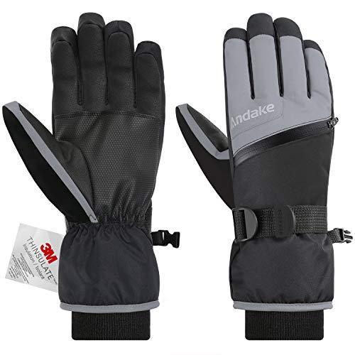 Andake 3M Thinsulate | Touchscreen wählbar | warm wasserdicht Winddicht rutschfest atmungsaktiv | Handschuhe Skihandschuhe Winterhandschuhe Thermohandschuhe Herren Männer, Grau+Touchscreen, L