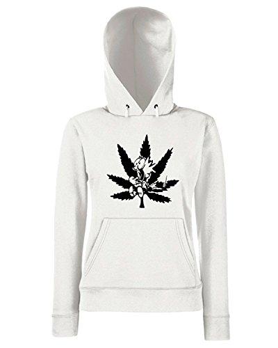 T-Shirtshock - Sweats a capuche Femme FUN0934 calvin pot leaf diecut decal 16843 Blanc