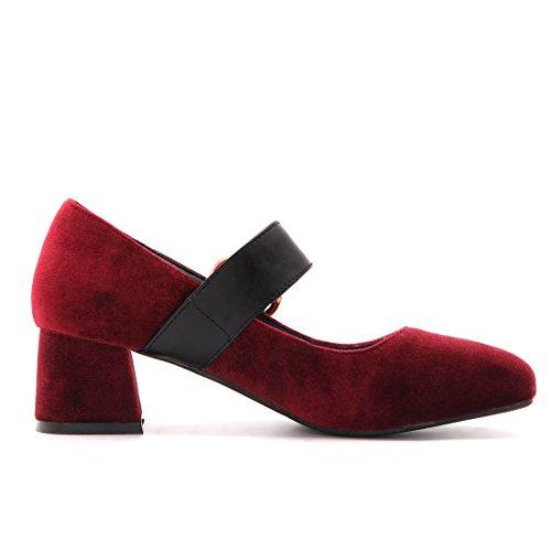 YE Damen Mary Jane Blockabsatz High Heels mit Knöchelriemchen Geschlossene Pumps 5cm Absatz Bequeme Schuhe Weinrot