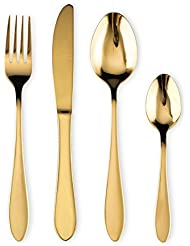 Cutlery Set, Gold Flatware Set , Stainless Steel Set Service for 6 Person, 24 Pieces Dining Cutlery