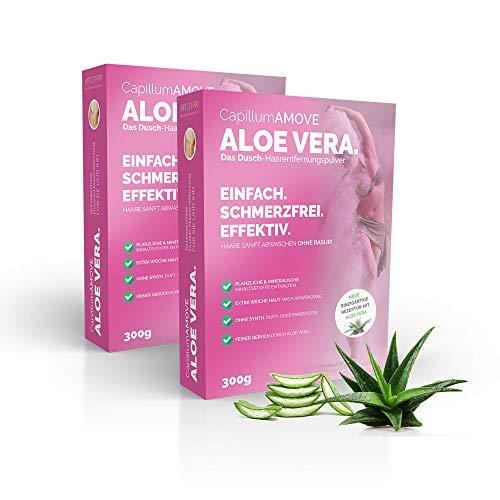 Vorratspaket 600g Capillum AMOVE Aloe Vera [Extra Sanft & Feuchtigkeitsspendend] Dusch Haarentfernungscreme Pulver ohne Schnitte oder Rasur-Reizungen