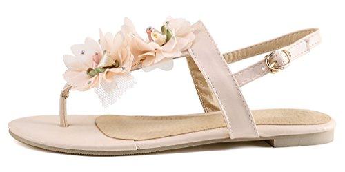 Damen YE Flache Schnalle mit Rosa Blumen Sandalen und Kn枚chelriemchen S眉脽 Bequem Schuhe Zehentrenner T6qwxrd6