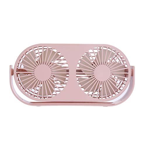 HiXB Dual Turbo Tisch USB Lüfter Geräuschlose Stummschaltung Manuelle Drehung 3 Gang Modus Passt den Lüfter mit Aromadiffusion an,Pink