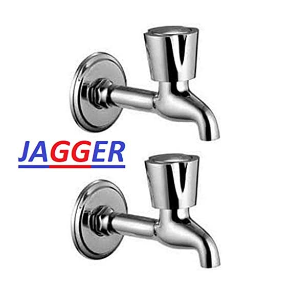 Jagger Long Body Stainless Steel Water Tap Faucet Bathroom Tap Washing Tap Kitchen Sink Tap (Wall Mount Installation Type) Set of 2