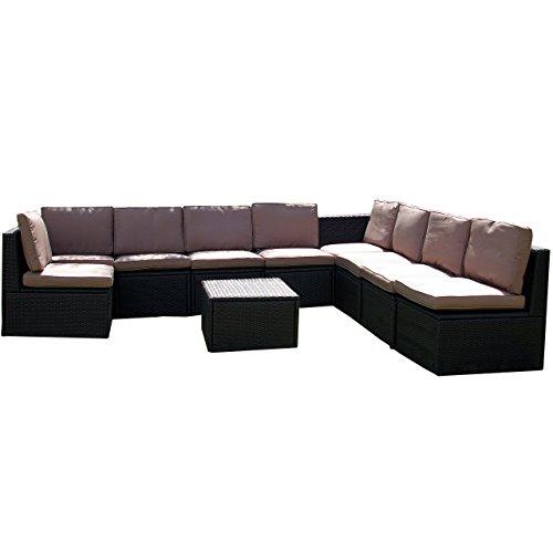 Gartenmöbel 10tlg. Sitzgruppe Poly Rattan Lounge Garten Garnitur ecru