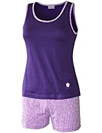 Damen Schlafanzug kurz Pyjama Damen kurz Sleepshirt Damen Shorty aus 100% Baumwolle Gr. S M L XL