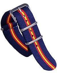 22mm azul / rojo / amarillo alto nivel de nylon multicolor de la NATO bandas pulseras para relojes estilo oscuro reemplazos para los hombres