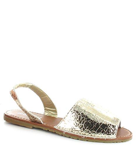 Elástico Praia Sandália De Crackle Verão Sapatos Para Ouro Senhoras De Minorca 1gxq68Xqd