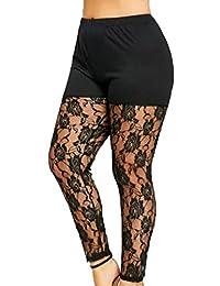 ab88d54ede5513 TIFIY Women Casual Plus Size Sheer Lace Insert Leggings Pants Trousers
