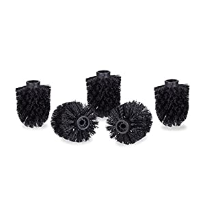 Relaxdays Set of 5, Loose Toilet Brushes, 9.5 mm Threads, Replacement Heads, Diameter 7 cm, Black