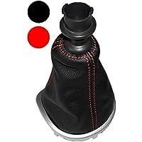 AERZETIX: Funda para palanca de cambios 100% Piel Genuina negro Costuras de color rojo