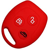 Silicone Car Key case for Ford Focus, Modeo, Fiesta, KA, Fusion, Red, (Ford Fusion Sel)