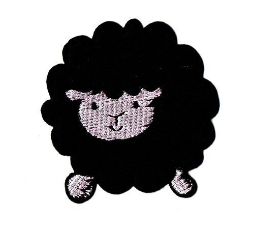 Schwarz Schaf Zoo Cartoon Kids Kinder Cute Animal Patch für Heimwerker-Applikation Eisen auf Patch T Shirt Patch Sew Iron on gesticktes Badge Schild (Cat Kostüme Diy Black)