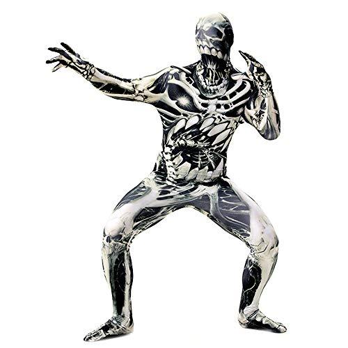 Damen Halloween Skelett Stretch Strumpfhose Ganzanzug Overall Trikot,Schwarz,XXL (Skelett Unitard Kostüm)