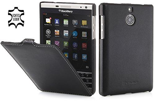 StilGut UltraSlim Case, Hülle Tasche aus Leder für BlackBerry Passport Silver Edition, schwarz - Nappa