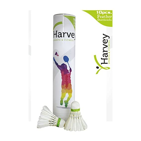 HARVEY SPORTS FITNESS Feather SHUTTLECOCKS [Pack of 10]