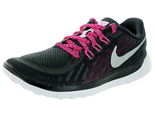 Nike Free 5.0, Running Fille, Mehrfarbig Black/Mtllc Slvr/Vvd Pnk/Pnk Pw