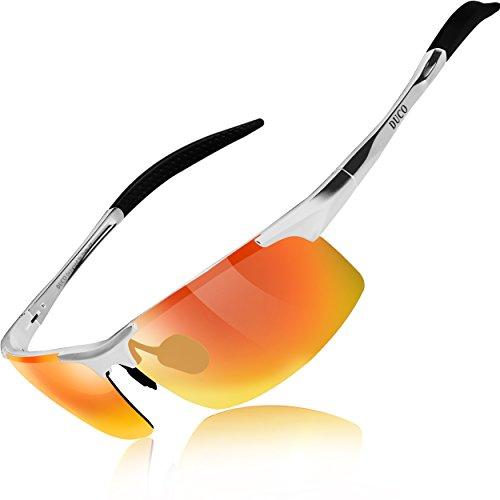 Duco occhiali da sole polarizzati uomo occhiali sportivi occhiali per la guida telaio in metallo 8177s (obiettivo arancione della struttura d'argento)