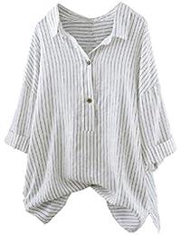 Damen Bluse Innerternet Frauen Oberteil Baumwolle Leinen Langarmshirt Hemd  Blusen Tops Elegant Casual Langarm Gestreift Tunika 532e8af00e
