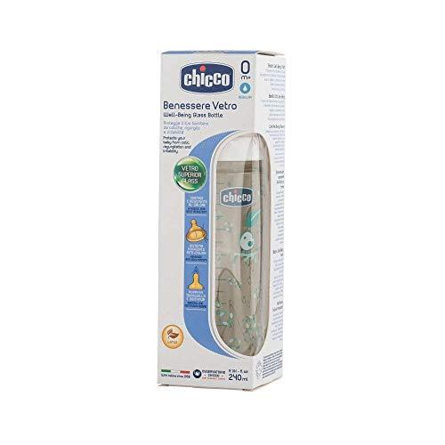 Chicco Wellbeing - Biberón de vidrio con tetina de látex y flujo normal para bebé de 0m+, 240 ml, Verde, Modelos surtidos